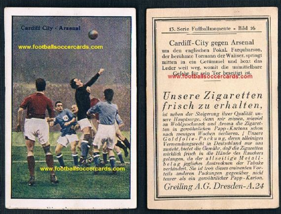1927 Greiling Arsenal v Cardiff City card Ireland Farquharson Scotland Jimmy Nelson NUFC